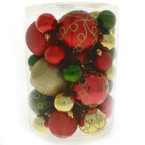 50-Piece Shatterproof Deluxe Christmas Tree Baubles Decoration Pack - Red / Gold / Green, Multi-colour