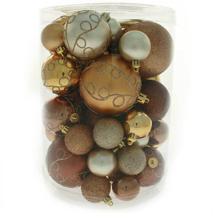 50-Piece Shatterproof Deluxe Christmas Tree Baubles, Brown / Chocolate / Champagne