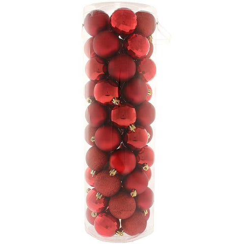 50-Piece Shatterproof Colour Co-ordinated Christmas Tree Baubles , Red