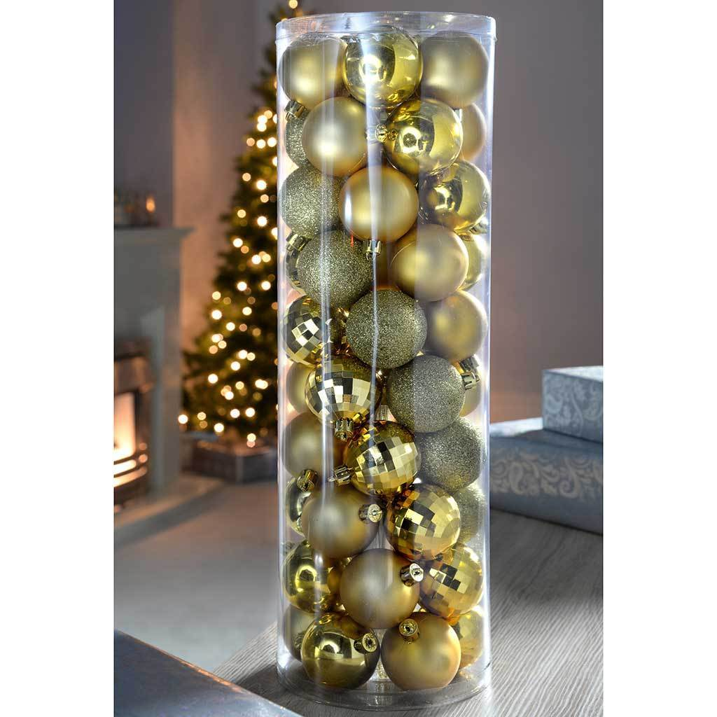 50-Piece Shatterproof Colour Co-ordinated Christmas Tree Baubles , Gold