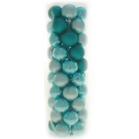 50-Piece Shatterproof Baubles Pack - Turquoise Blue