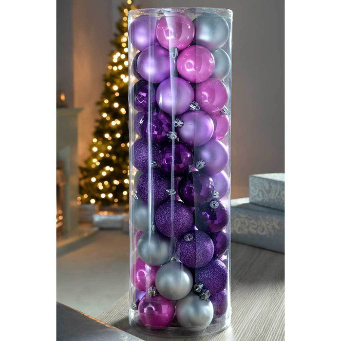 50 Piece Shatterproof Colour Co Ordinated Christmas Tree Baubles Decoration Pack Purple Pink Silver Multi Colour