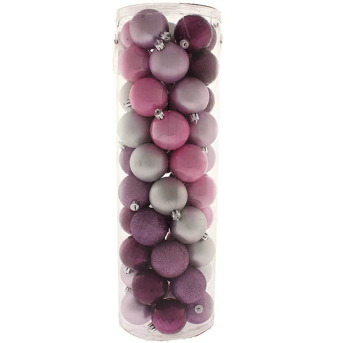 50-Piece Shatterproof Colour Co-ordinated Christmas Tree Baubles Decoration Pack - Purple / Pink / Silver, Multi-colour