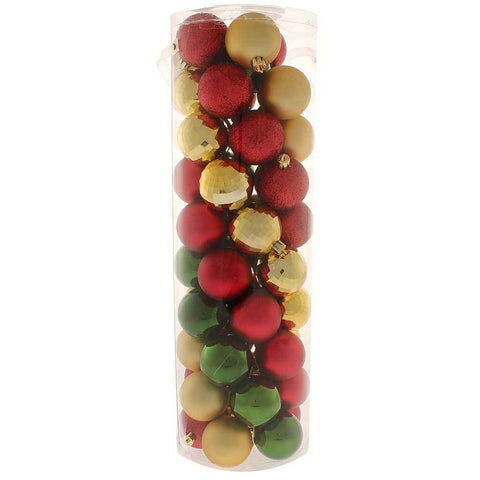 50-Piece Shatterproof Colour Co-ordinated Christmas Tree Baubles Decoration Pack - Red / Gold / Green, Multi-colour