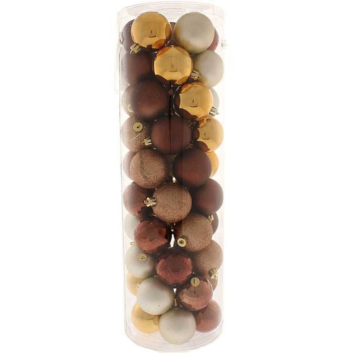 50-Piece Shatterproof Baubles Pack - Brown, Chocolate and Coffee