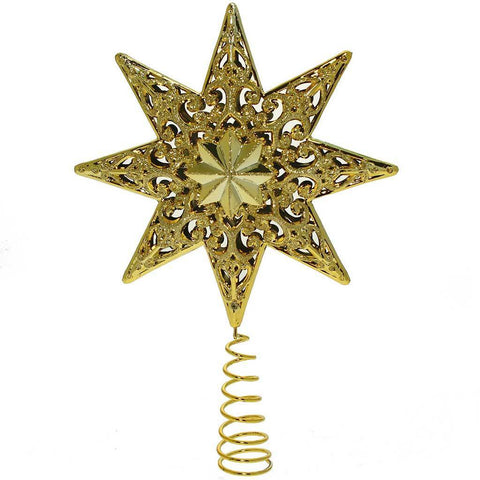21 cm 1-Piece Shatterproof Deluxe Christmas Tree Top Star with Glitter, Gold
