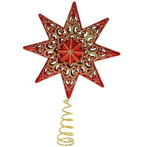 21 cm Shatterproof Deluxe Christmas Star Tree Topper with Glitter, Red
