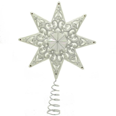 21 cm Shatterproof Christmas Tree Topper Star with Glitter, Pearl White