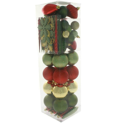 72-Piece Shatterproof Deluxe Variety Christmas Tree Baubles, Red, Gold & Green