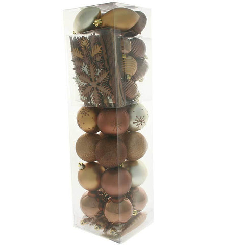 72-Piece Shatterproof Deluxe Variety Christmas Tree Baubles Decoration Pack - Brown / Chocolate, Coffee & Champagne, Multi-colour