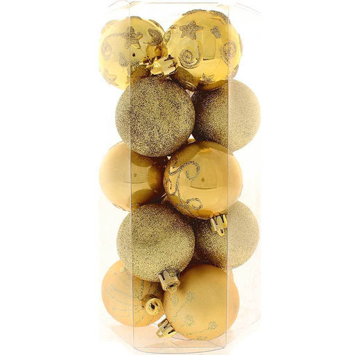 Shatterproof Plastic Deluxe Baubles Christmas Tree, 15-Piece - Gold