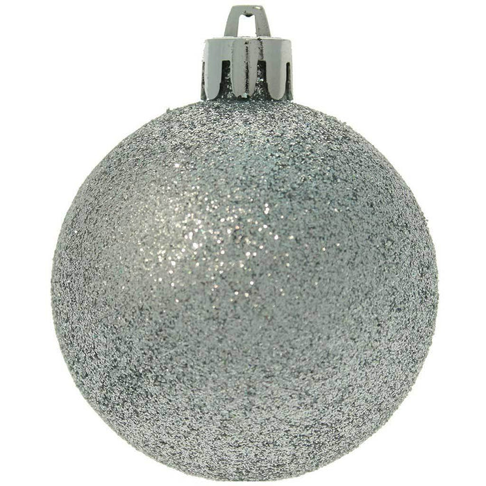 15-Piece Shatterproof Plastic Deluxe Baubles Christmas Tree Decoration Pack - Silver