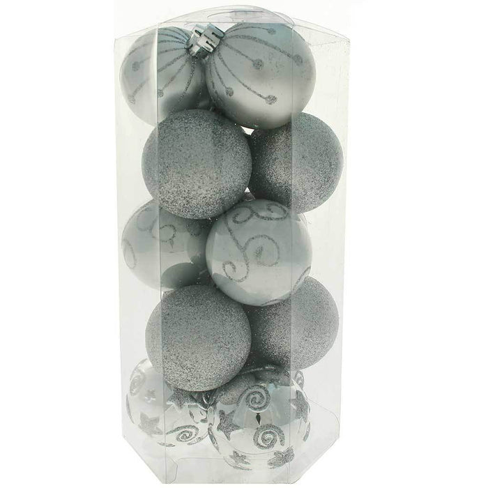 15-Piece Shatterproof Plastic Deluxe Baubles Christmas Tree Decoration Pack - Silver | WeRChristmas