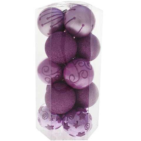 15-Piece Shatterproof Deluxe Christmas Tree Baubles Decoration Pack, Purple/ Pink/ Silver