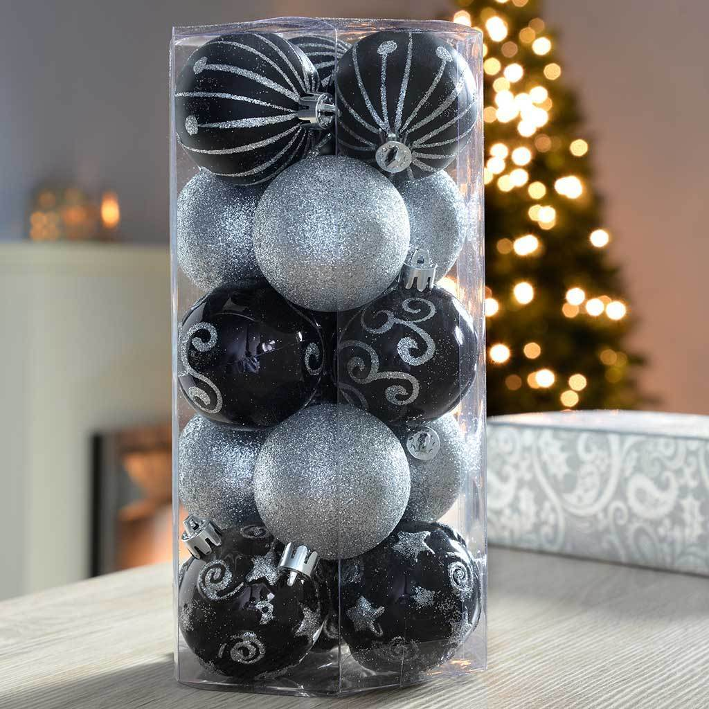 15-Piece Shatterproof Deluxe Christmas Tree Baubles, Silver/ Black