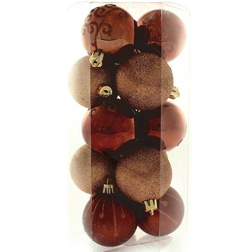 Shatterproof Deluxe Christmas Tree Baubles, 15-Piece - Brown/Chocolate/Champagne