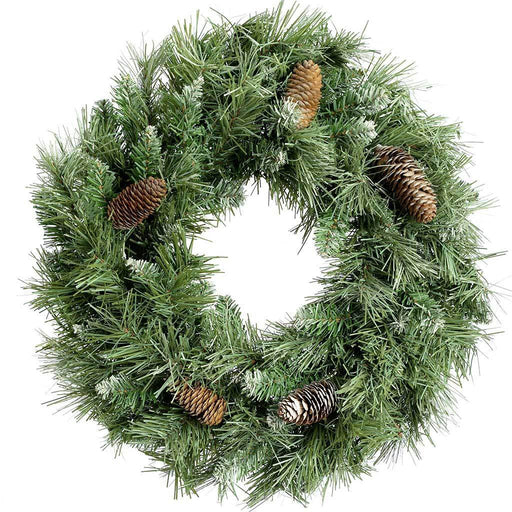 Scandinavian Blue Spruce Christmas Wreath Decoration with Pine Cones, 50 cm - Large