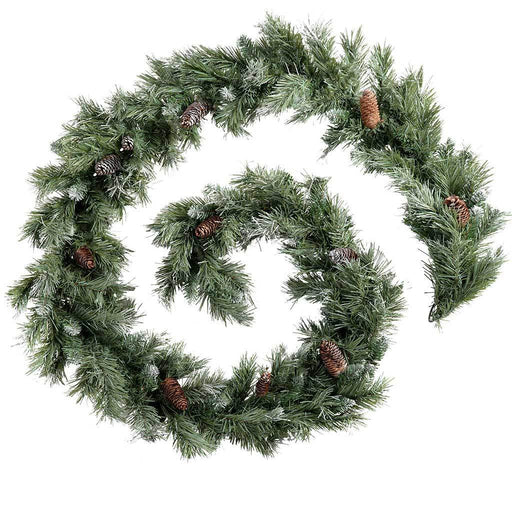 9 ft  Scandinavian Blue Spruce Christmas Garland with Pine Cones