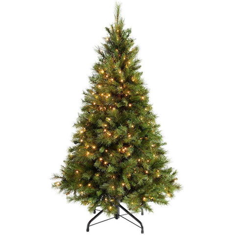 WeRChristmas Pre-Lit Victorian Pine Multi-Function Christmas Tree, 300  Warm White LED Lights, 5 ft/1.5 m