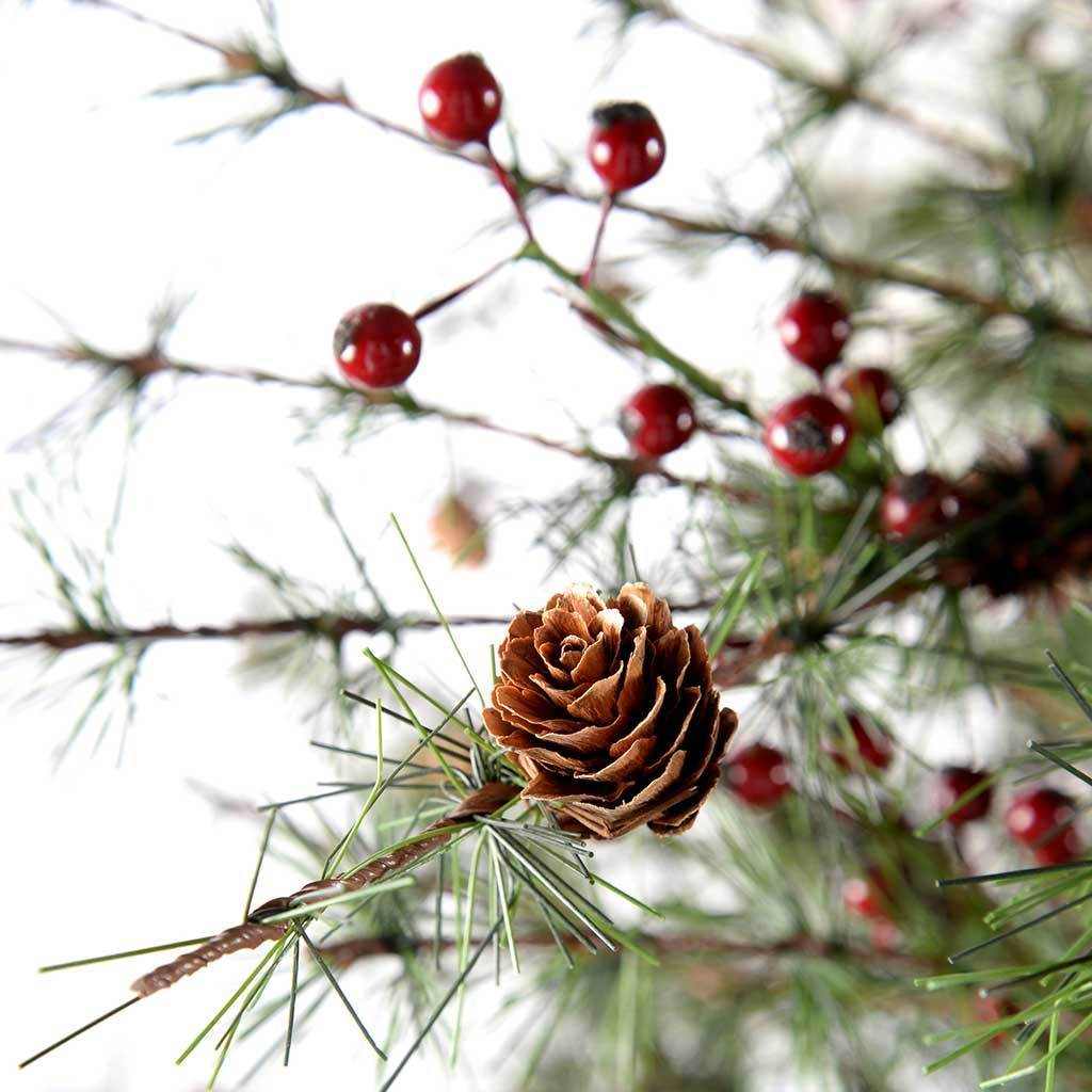 7 ft Contemporary Pine Christmas Tree with Red Berries and Mini Pine Cones
