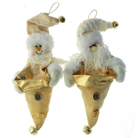 23 cm Hanging Santa and Snowman Christmas Tree, Twin Pack, Cream/ Gold