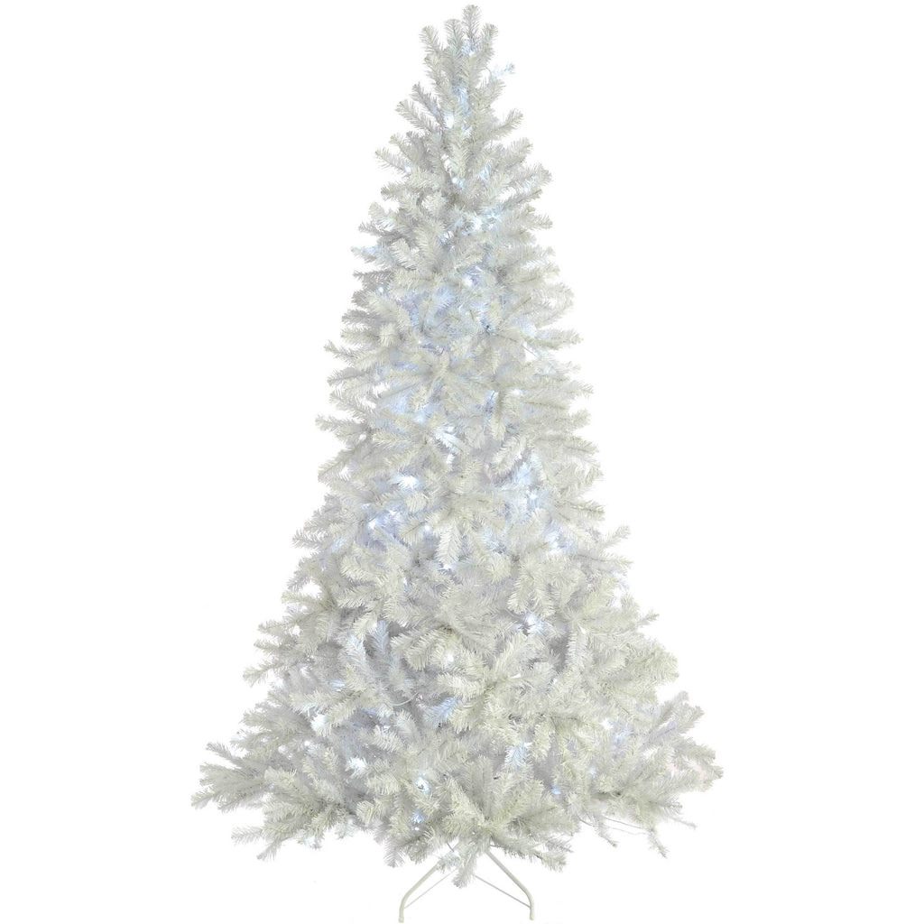 Deluxe Pine Pre-Lit Multi-Function White Christmas Tree with White LED Lights/ 8 Setting Controller & Easy Build Hinged Branches