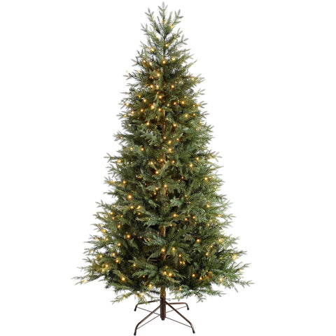 Mountain Pine Natural Bark Pre-Lit Multi Function Christmas Tree with Warm White LED Lights, 8 Setting Controller & Easy Build Hinged Branches