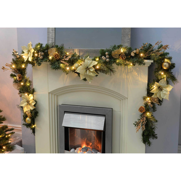 WeRChristmas Decorated Pre-Lit Garland Christmas Decoration with 40 Warm White LED Lights 9 ft - Cream/Gold