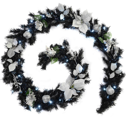 WeRChristmas Decorated Pre-Lit Garland Christmas Decoration with 40 Cool White LED Lights 9 ft - Black/Silver
