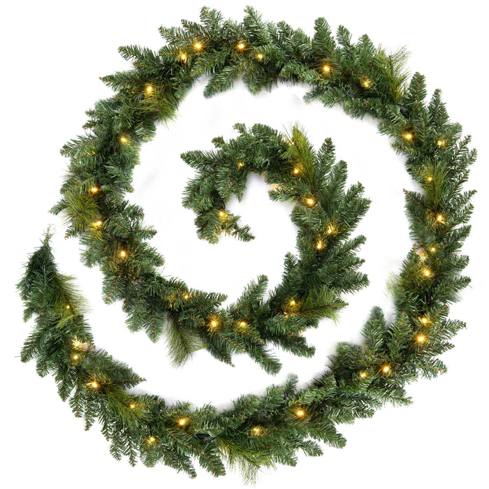 WeRChristmas Plain Pre-Lit Garland Christmas Decoration with 52 Warm White LED Lights 12 ft - Green
