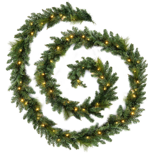 WeRChristmas Plain Pre-Lit Garland Christmas Decoration with 80 Warm White LED Lights 18 ft - Green