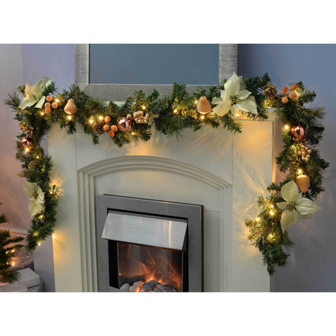 WeRChristmas Decorated Pre-Lit Garland Christmas Decoration with 40 Warm White LED Lights 9 ft - Copper/Gold
