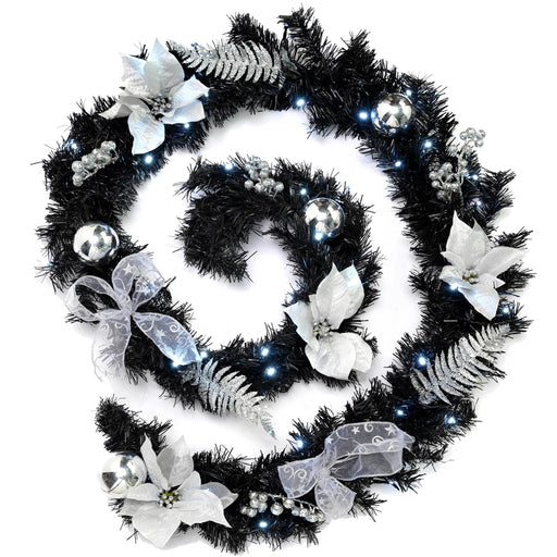 WeRChristmas Decorated Pre-Lit Garland Christmas Decoration with 40 White LED Lights 9 ft - Black/Silver
