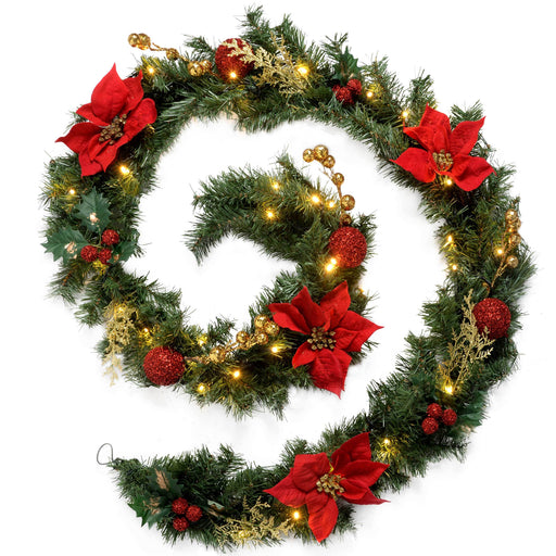 WeRChristmas Decorated Pre-Lit Garland Christmas Decoration with 40 Warm White LED Lights 9 ft - Red/Gold