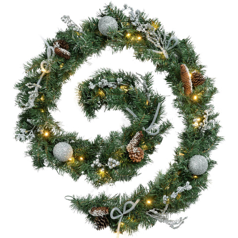 WeRChristmas Decorated Pre-Lit Garland Christmas Decoration with 40 White LED Lights 9 ft - Silver Ice