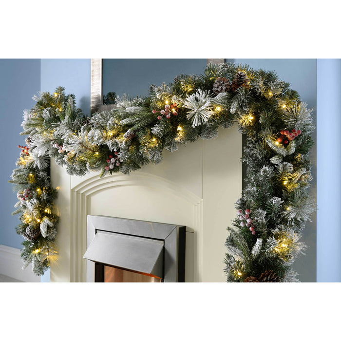 WeRChristmas Extra Thick Pre-Lit Garland Christmas Decoration with 80 Warm LED Lights 9 ft - Frosted