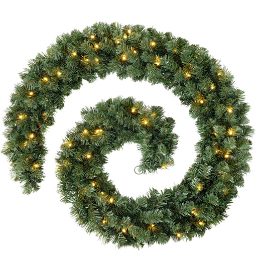 WeRChristmas Extra Thick Pre-Lit Garland Christmas Decoration with 80 Warm LED Lights 9 ft - Natural