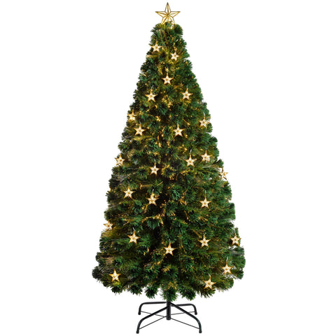 WeRChristmas Pre-Lit Fibre Optic Multi-Function Christmas Tree with Tree Topper Green
