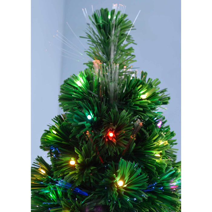 WeRChristmas Pre-Lit Christmas Tree with 185 Fibre Optic Lights - Multi-Colour