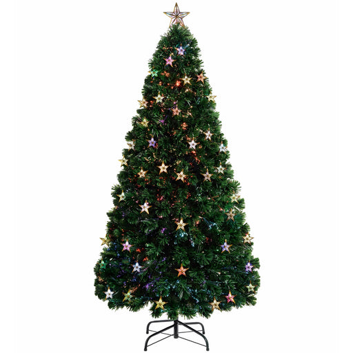 WeRChristmas Pre-Lit Fibre Optic Multi-Function Christmas Tree with Tree Topper and Multi Colour Lights