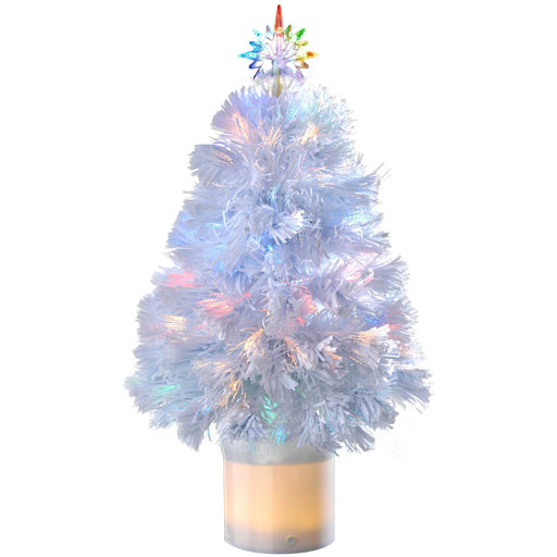 WeRChristmas Pre-Lit Fibre Optic Christmas Tree with Bluetooth Compatibility 2 ft/60 cm - White