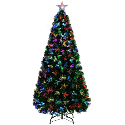 WeRChristmas Pre-Lit Fibre Optic Christmas Tree with Tree Topper and Flower Lights - Green