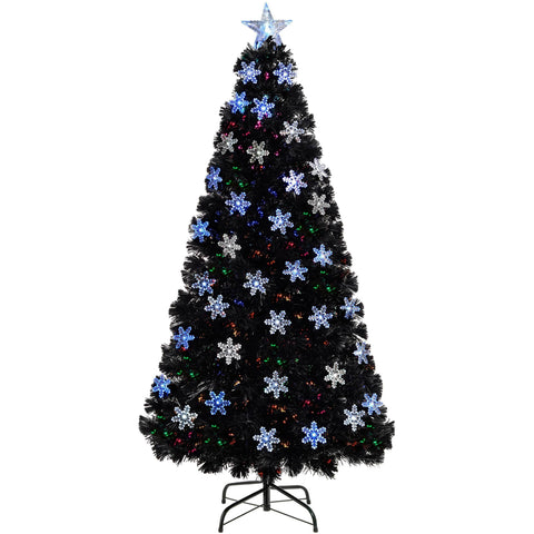 WeRChristmas Pre-Lit Fibre Optic Christmas Tree with Tree Topper and Snowflakes 5 ft/1.5 m - Black