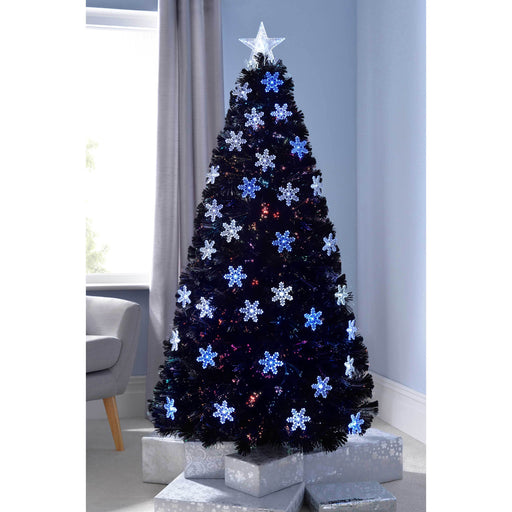 33511368993 WeRChristmas Pre-Lit Fibre Optic Christmas Tree with Tree Topper and  Snowflakes 7 ft 2.1 m - Black