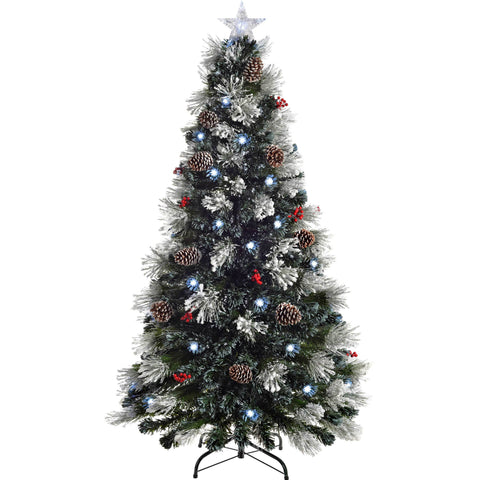 WeRChristmas Pre-Lit Fibre Optic Multi-Function Christmas Tree with Tree Topper 5 ft/1.5 m - Frosted