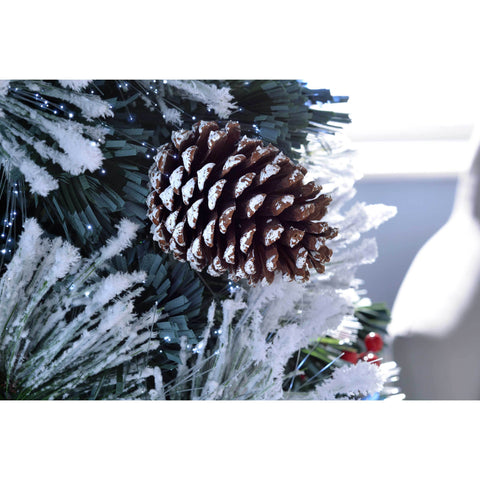 WeRChristmas Pre-Lit Fibre Optic Multi-Function Christmas Tree with Tree Topper - Frosted