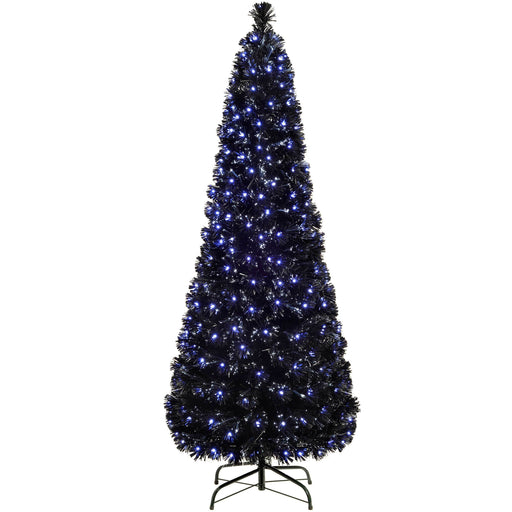 WeRChristmas Pre-Lit Slim Christmas Tree with Fibre Optic Lights - Blue/White
