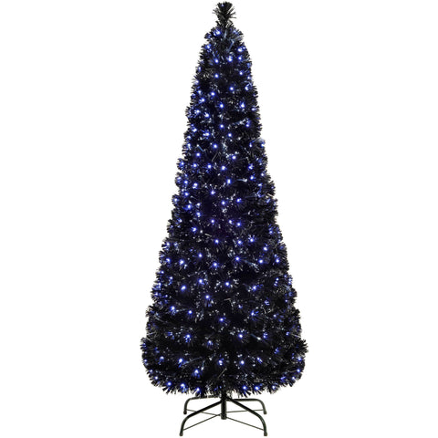 WeRChristmas Pre-Lit Slim Christmas Tree with 185 Fibre Optic Lights 5 ft/1.5 m - Blue/White