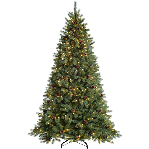 WeRChristmas Pre-Lit Craford Pine Cone Multi-Function Christmas Tree with 300 Candle LED Lights 5 ft/1.5 m
