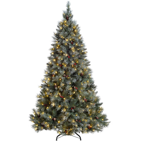 WeRChristmas Pre-Lit Scandinavian Spruce Pine Cone and Berry Christmas Tree Warm White Candle LED Lights